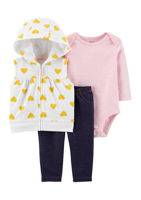 Carter's® Baby Girls 3-Piece Little Vest Set