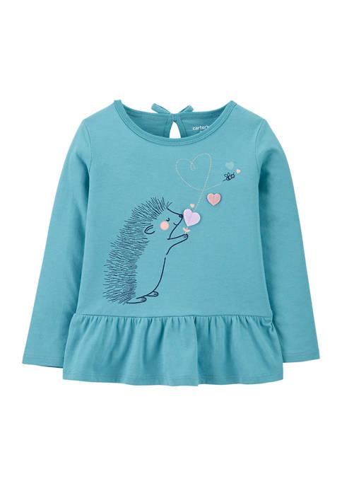 Carter's® Baby Girls Hedgehog Peplum Jersey Tee