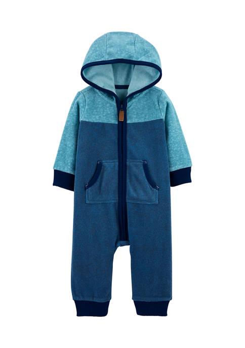 Baby Boys Zip-Up Fleece Jumpsuit