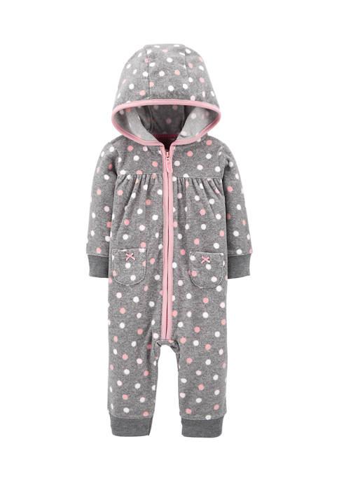 Carter's® Baby Girls Polka Dot Fleece Jumpsuit