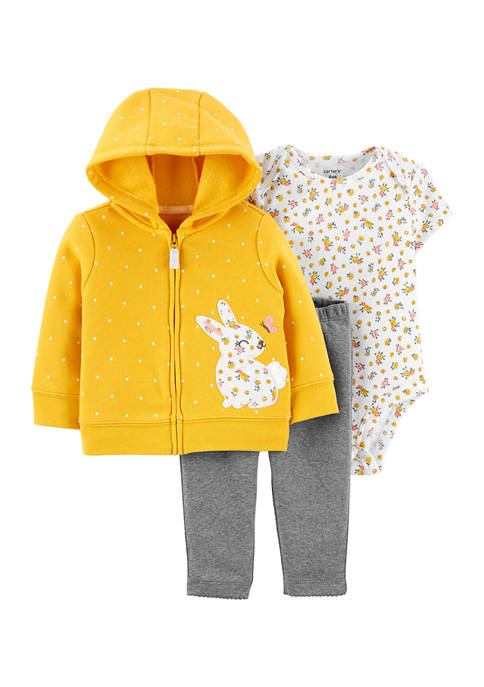 Carter's® Baby Girls 3 Piece Gold Cardigan Set