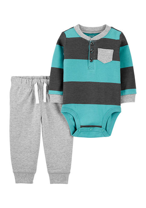 Carter's® Baby Boys 2-Piece Rugby Striped Bodysuit Pant