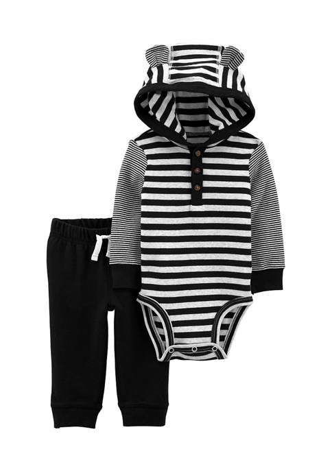 Carter's® Baby Boys 2-Piece Striped Hooded Bodysuit Pant