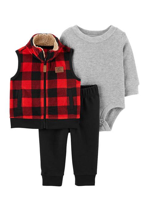 Baby Boys 3 Piece Buffalo Check Little Vest Set