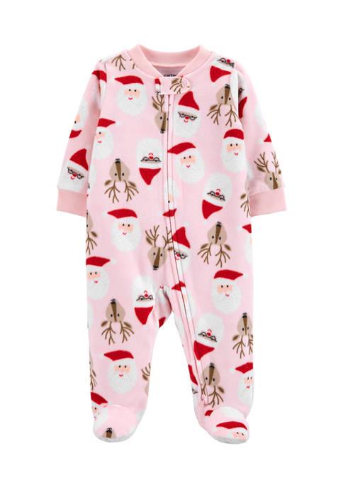 Carter's® Baby Girls Christmas Zip-Up Fleece Sleep and