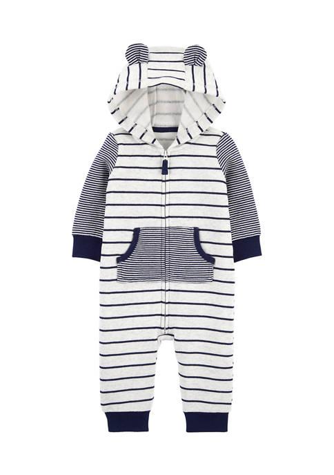 Carter's® Baby Boy Striped Zip Up Fleece Jumpsuit