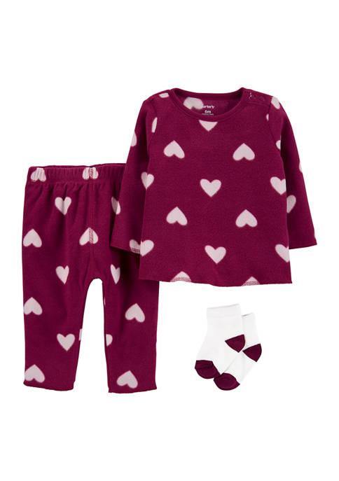 Baby Girls 3 Piece Heart Set