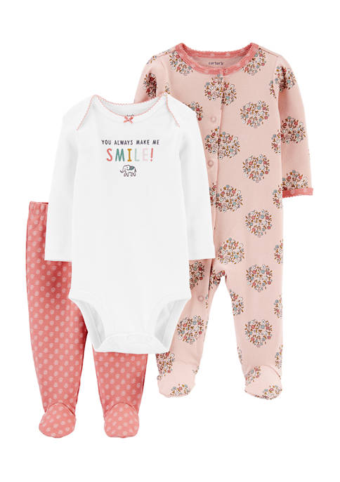 Carter's® Baby Girls 3 Piece Smile Bodysuit and
