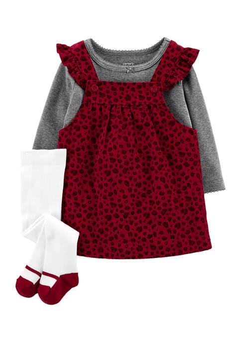 Baby Girls Leopard Print Jumper Set with Socks