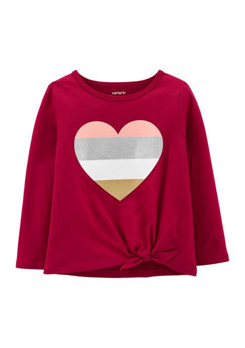 Carter's® Baby Girls Glitter Heart Tie-Front Jersey T-Shirt