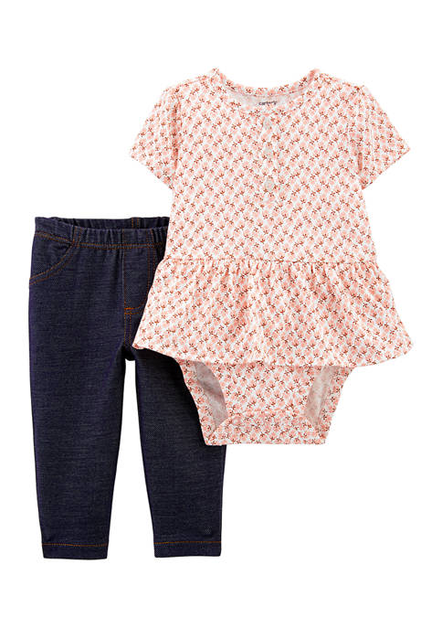 Carter's® Baby Girls 2 Piece Peplum Bodysuit and
