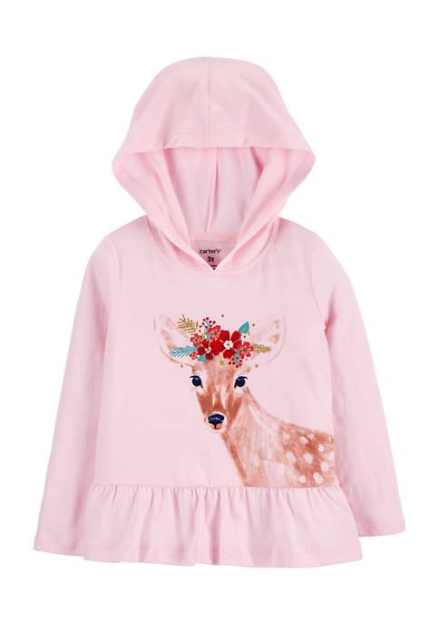 Carter's® Baby Girls Deer Hooded Jersey T-Shirt