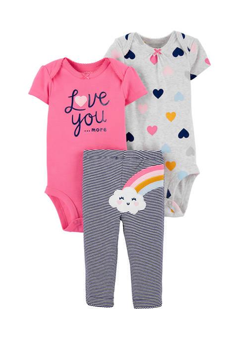 Carter's® Baby Girls 3 Piece Rainbow Bodysuit and