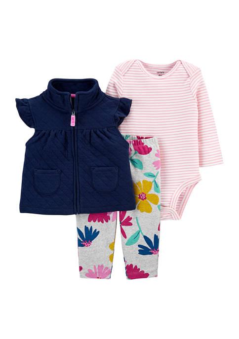 Baby Girls 3-Piece Floral Little Vest Set