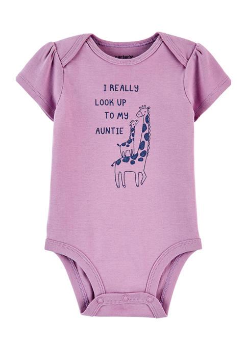Baby Girls Purple Auntie Bodysuit