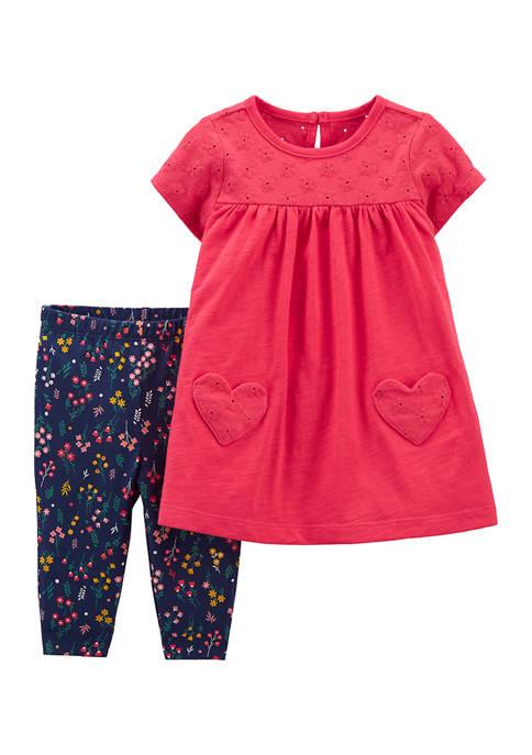Baby Girls Dress and Printed Legging Set