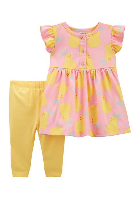 Baby Girls Printed Dress and Legging Set