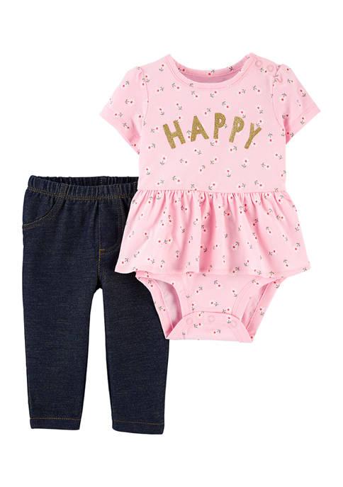 Baby Girls Printed Bodysuit and Legging Set