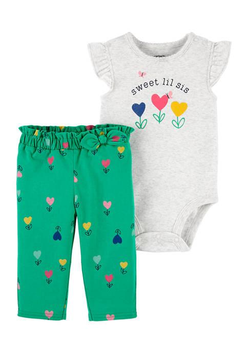 Baby Girls Gray Flower Bodysuit Set