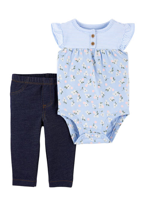 Carter's® Baby Girls Blue Floral Bodysuit Set