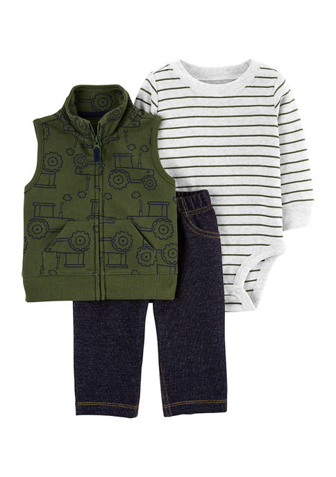 Baby Boys Green Vest Set