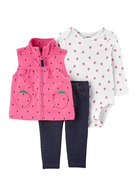 Baby Girls Strawberry Vest Set