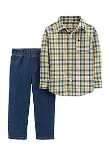 Infant Boys 2-Piece Button-Front Top And Denim Pant Set