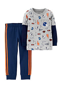 Infant Boys 2-Piece Layered-Look Sports Tee & French Terry Jogger Set