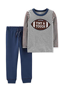 Baby Boys Football Tee & French Terry Jogger Set
