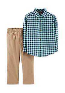 Baby Boys Flannel Button-Front & Khaki Pant Set