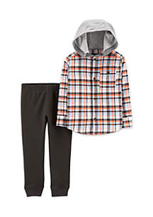 Baby Boys Hooded Button-Front Flannel & Jogger Set