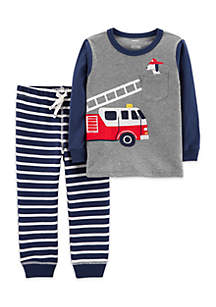 Baby Boys Firetruck Tee & Striped Jogger Set
