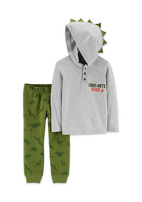 Carter's® Infant Boys 2-Piece Dinosaur Hooded Henley And