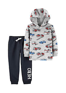 Baby Boys 2-Piece Hero Vehicle Hoodie and French Terry Jogger Set
