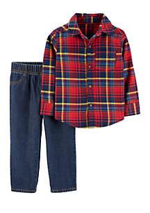 Baby Boys 2-Piece Plaid Button-Front Top and Denim Pant Set