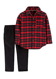 Toddler Boys 2-Piece Plaid Button Front Top & Corduroy Pant Set