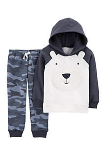 Baby Boys 2-Piece Bear Fleece Hoodie and Camo Jogger Set