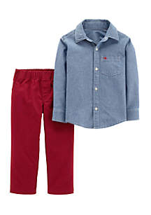 Infant Boys 2-Piece Chambray Button-Front & Canvas Pants Set