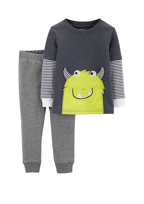 Baby Boys 2-Piece Monster Layered-Look Tee and French Terry Pants Set