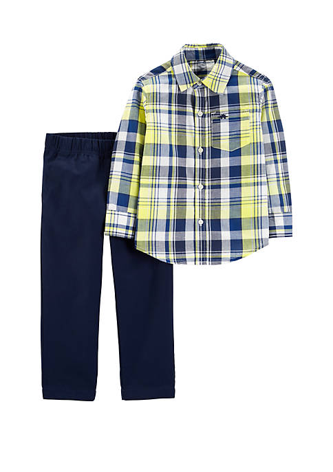 Baby Boys 2-Piece Button-Front Top and Denim Pant Set