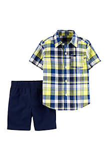 Carter's® Baby Boys 2-Piece Plaid Button-Front Shirt and Canvas Short Set