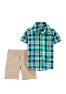 09a67a7d8 ... Carter's® Baby Boys 2 Piece Plaid Button Front Top and Khaki Short Set