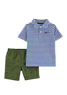 Carter's® Baby Boys 2-Piece Striped Polo and Poplin Short Set