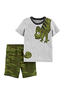 Carter's® Baby Boys 2-Piece Chameleon Jersey Tee and Camo Short Set