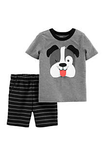 Carter's® Baby Boys 2-Piece Dog Jersey Tee and Striped Short Set