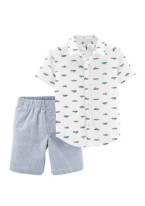 Carter's® Baby Boys 2-Piece Boat Button-Front Top and