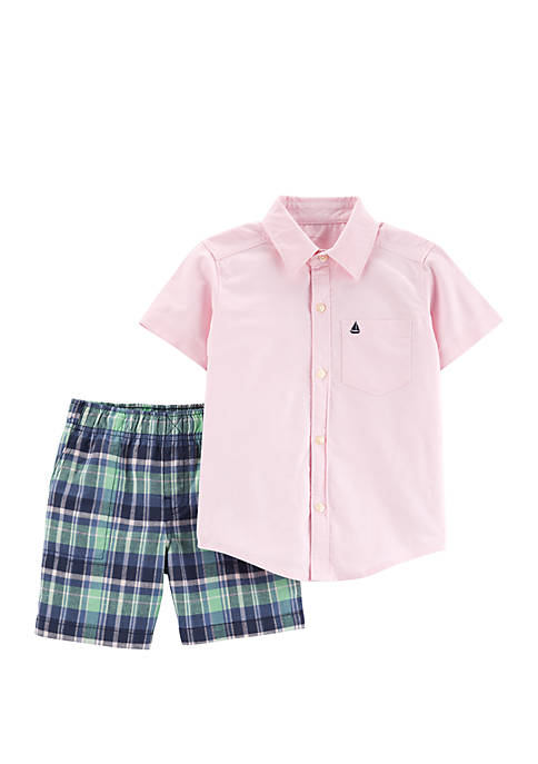 Baby Boys 2-Piece Oxford Button-Front Shirt and Plaid Short Set