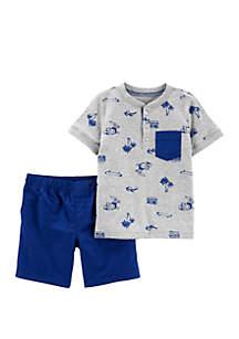 Carter's® Baby Boys 2 Piece Beach Henley and Poplin Short Set