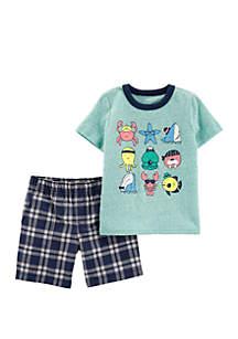 Carter's® Baby Boys 2 Piece Beach Snow Yarn Tee and Plaid Short Set