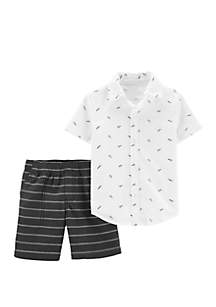 Carter's® Baby Boys 2 Piece Paper Airplane Button Front Top and Striped Short Set